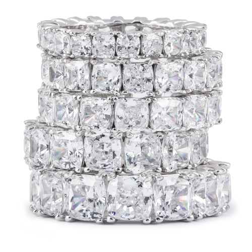 Cushion Cut Cubic Zirconia Eternity Band