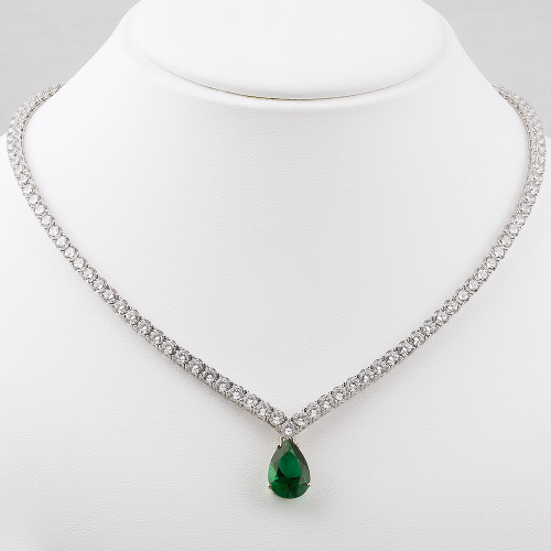 """Vanessa """"V"""" Shaped CZ Tennis Necklace with Optional Drop"""