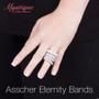 Asscher Prong Set Cubic Zirconia Eternity Band