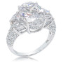 Viola Oval with Half Moons CZ Engagement Ring, 8.0 Ct TW