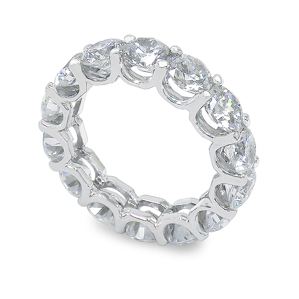 band plated rhodium eternity cz flower bands