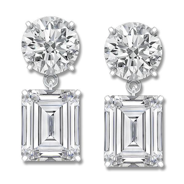 Leila Round Emerald Cut Cz Drop Earrings 12 0 Ct Tw
