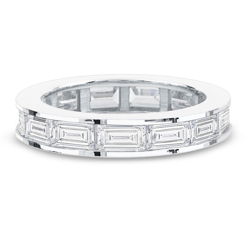 diamond pre pave white wide u bands band set platinum wb melee eternity prong shared in gold