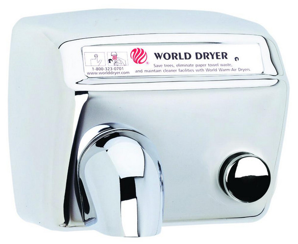 World Model DA-972 Stainless Steel Polished Push Button hand dryer