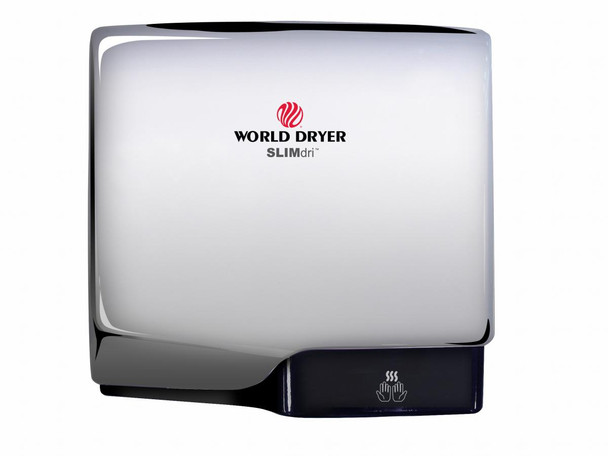 World Dryer SLIMdri L-970 Aluminum Polished Chrome Cover, Surface Mounted ADA Compliant Universal Voltage Hand Dryer