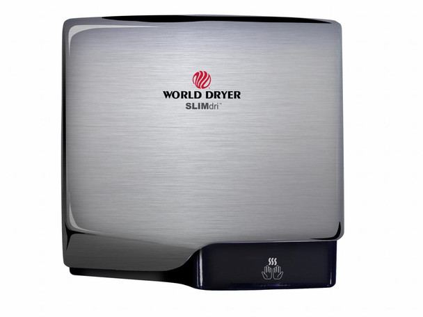 World Dryer SLIMdri L-971 Aluminum Brushed Chrome Cover, Surface Mounted ADA Compliant Universal Voltage Hand Dryer
