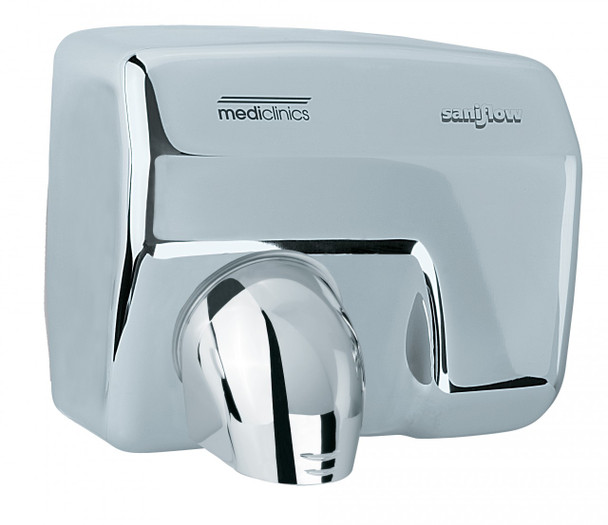 SANIFLOW Series E88AC Automatic Steel Bright Chromed Hand Dryer from Saniflow - 360° Revolving Nozzle, Surface Mounted Design