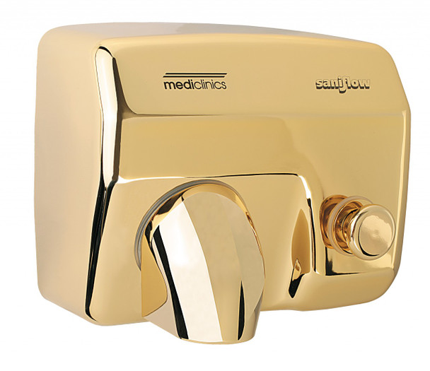 SANIFLOW Series E88O Push Button Steel Golden Chromed Hand Dryer from Saniflow - 360° Revolving Nozzle, Surface Mounted Design