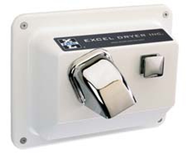 CAST Series R76-W Hands On Push Button Hand Dryer from Excel Dryer - Die-cast Zinc Alloy, White Epoxy Painted Cover, Recessed Mount
