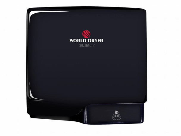 World Dryer SLIMdri L-162 Aluminum Black Cover, Surface Mounted ADA Compliant Universal Voltage Hand Dryer