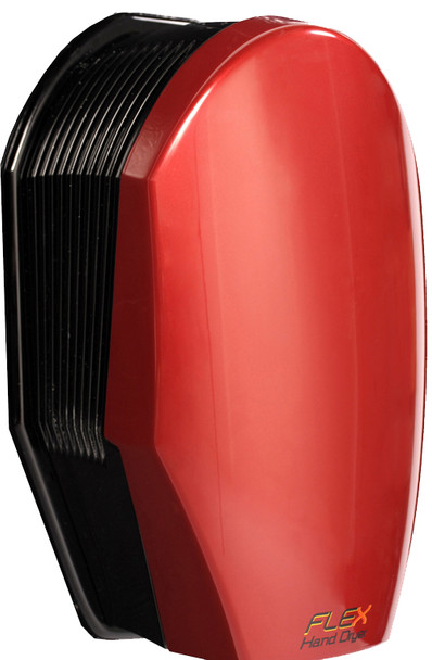 The fast touchless Flex hand dryer in red
