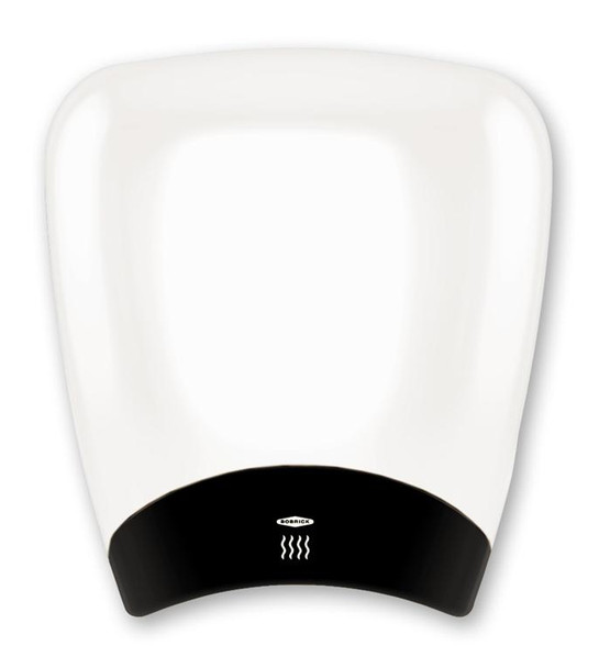 Bobrick B-770 DuraDry QuietDry Hand Dryer has a white epoxy painted aluminum cover.