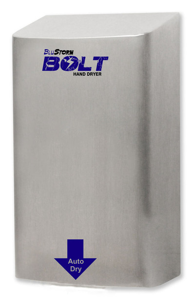 BluStorm Bolt High Speed Brushed Stainless Steel Surface Mounted Hand Dryer from Palmer Fixture HD0923-09 and HD0924-09