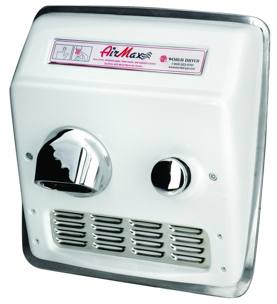 Airmax RM5-974 White Cast Iron Push Button Recess Mounted hand dryer by World Dryer