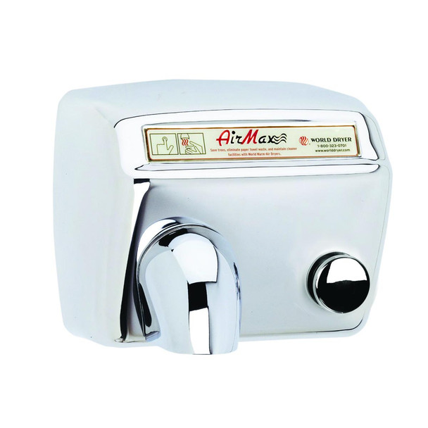 World Dryer AirMax Stainless Steel Polished Push Button commercial hand dryer