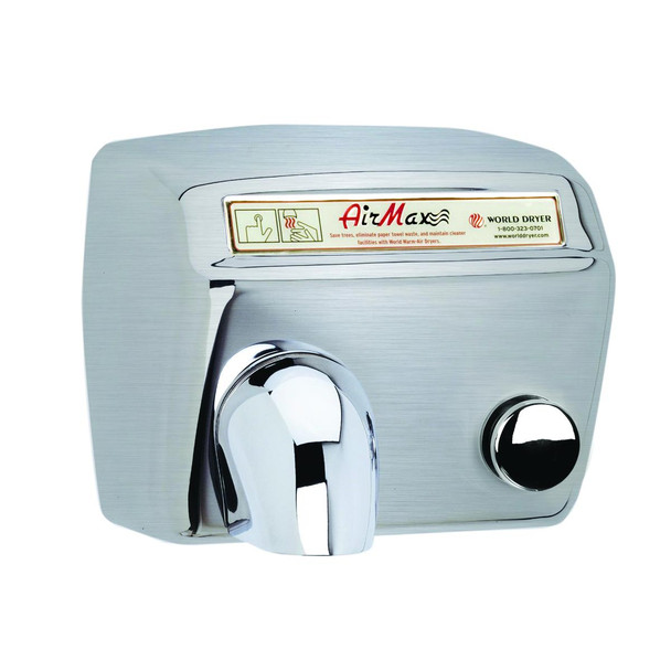 World Dryer AirMax Stainless Steel Brushed Push Button commercial hand dryer