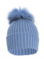 Blue Knitted Fox Fur Bobble Hat