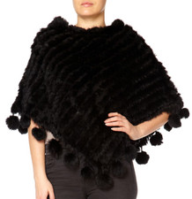 Black Coney Fur Poncho (with pom poms) RFD1019A-01