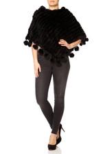 Black Coney Fur Poncho