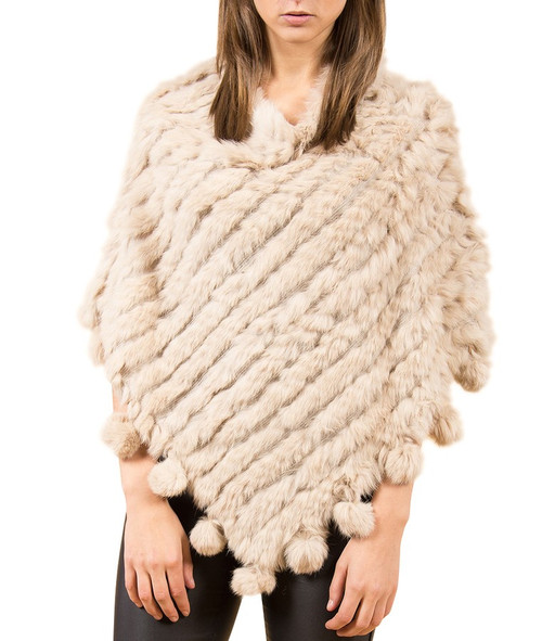 Cream Coney Fur Poncho (with pom poms) RFD1019A-D02