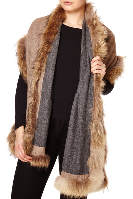 Reversible Cashmere & Wool Mix Wrap with Raccoon Fur Trim in Dark Grey & Biscuit