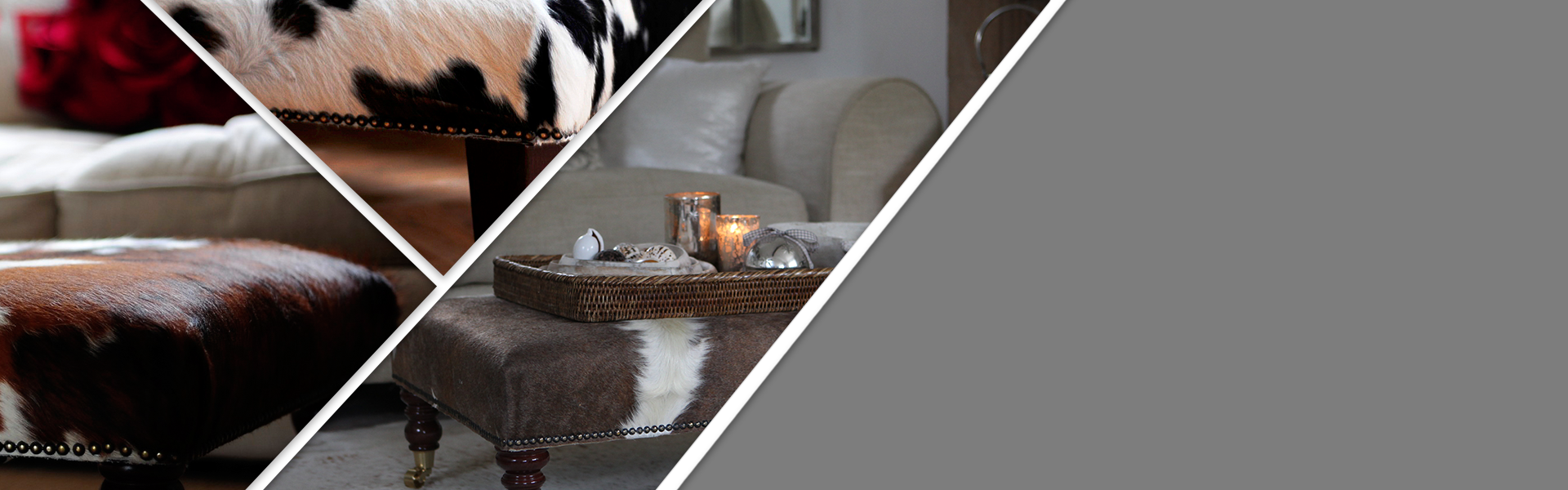 Handcrafted Cowhide Footstools