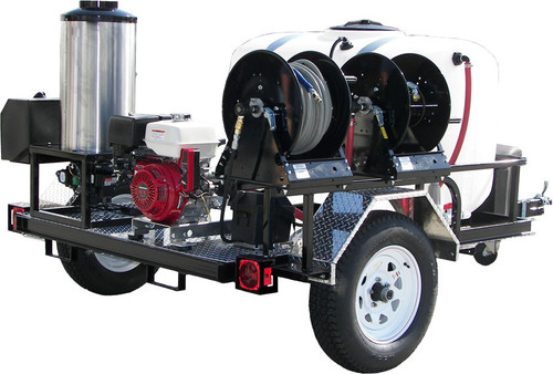 Gas Engine 12 V Direct Drive Hot Water Pressure Washer- Trailer Mounted. Hose not included. *Pictured with a Honda Engine but this unit is actually sold with a Kohler Diesel Engine*