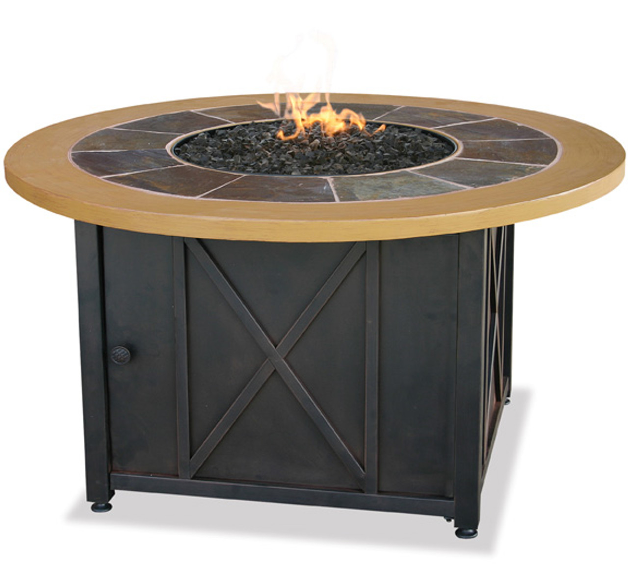 Blue Rhino Uniflame LP Propane Gas Fire Pit Table With Round Slate U0026 Faux  Wood Mante