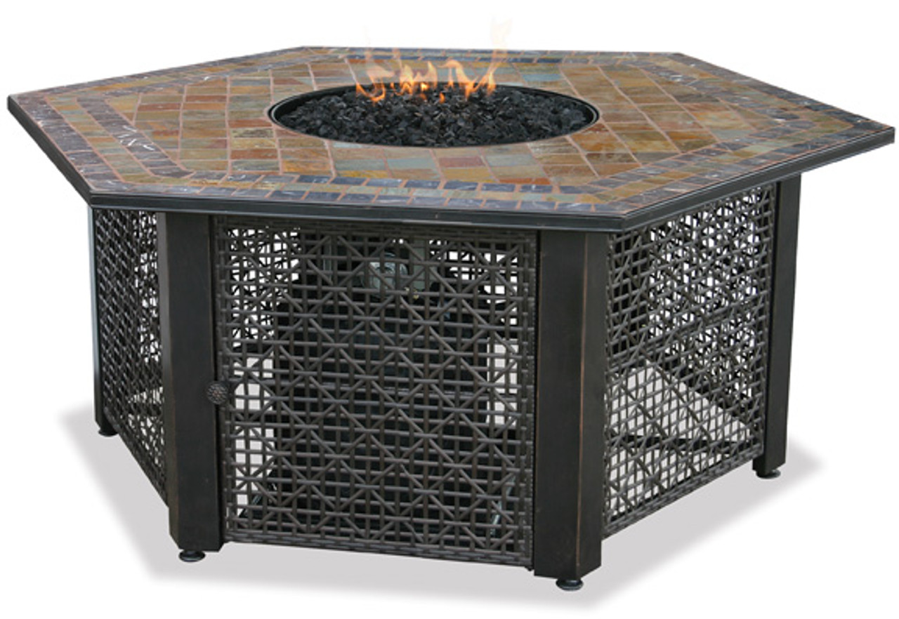 Charmant Blue Rhino Uniflame LP Propane Gas Fire Pit Table With Hexagon Slate Tile  Mantel