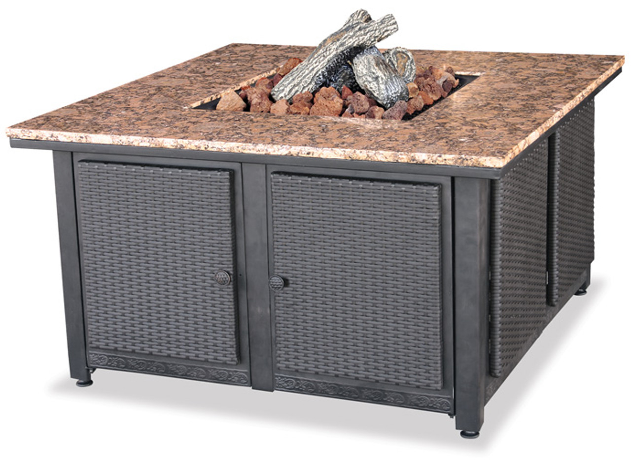 blue rhino uniflame lp propane gas fire pit table with granite