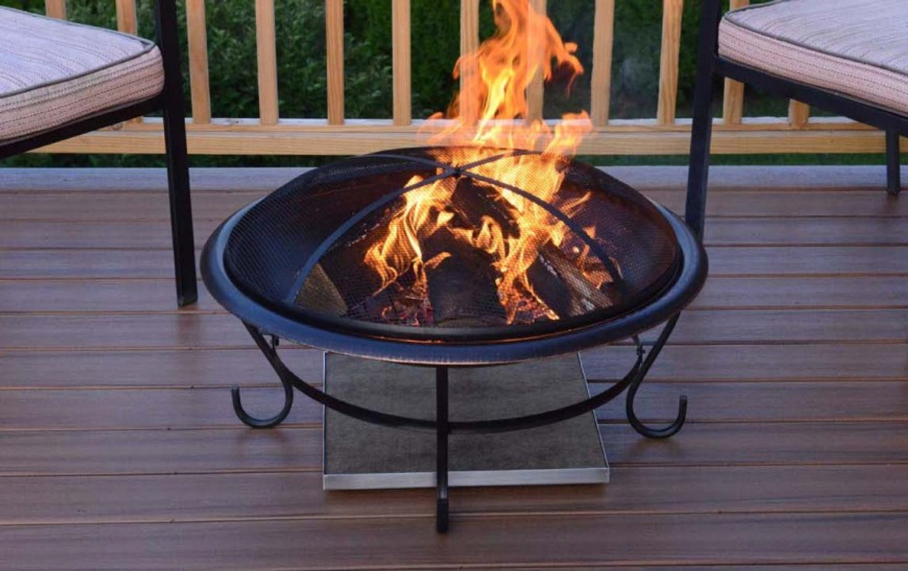 Deck Protect 12 inch by 12 inch Fire Pit Pad and Rack - Deck Protect 12 Inch By 12 Inch Fire Pit Pad And Rack - DP1002 - The
