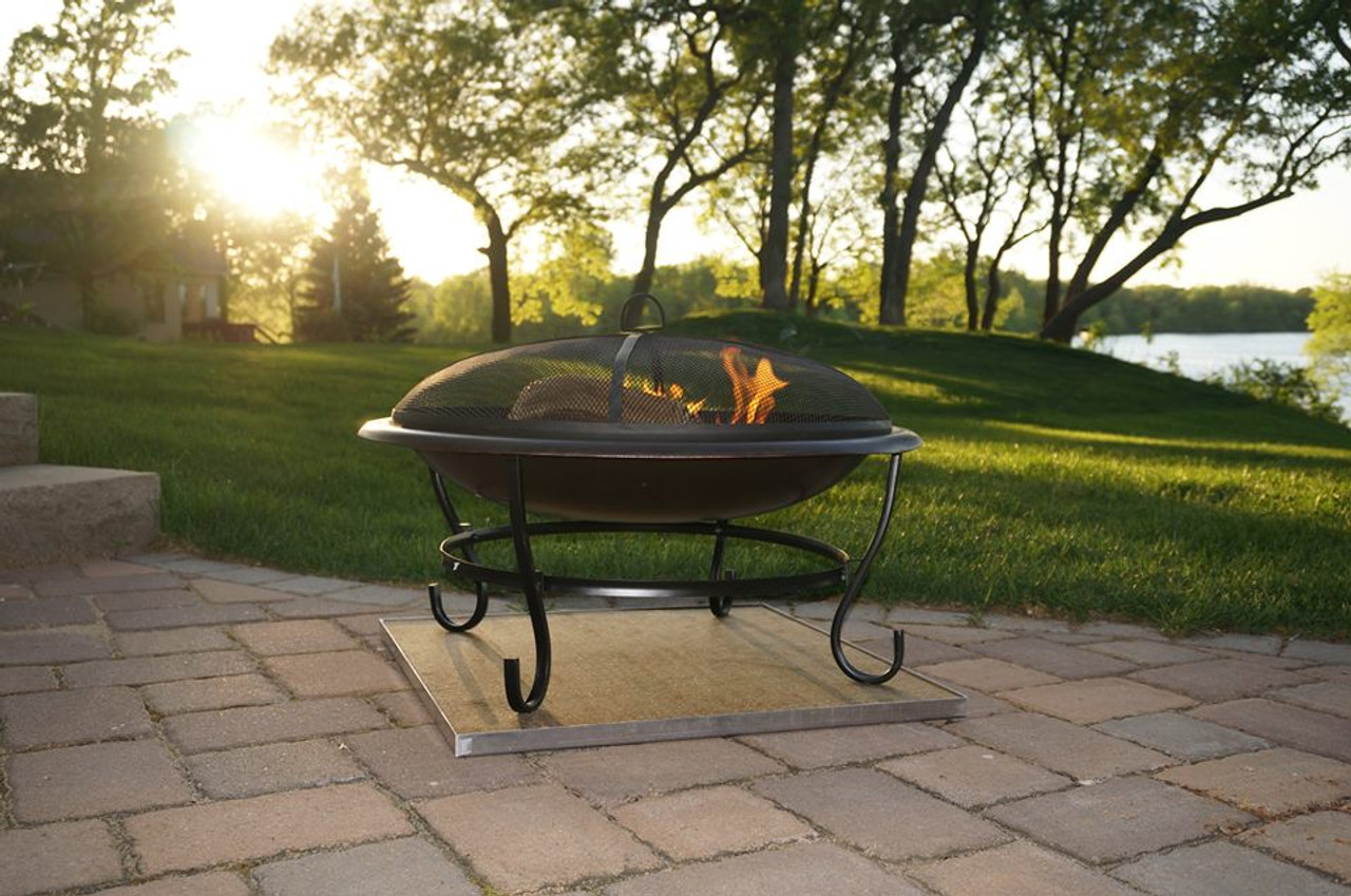 Deck Protect 36 inch by 36 inch Fire Pit Pad and Rack - DP4002 - Deck Protect 36 Inch By 36 Inch Fire Pit Pad And Rack - DP4002 - The