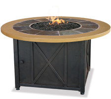 Beau Blue Rhino Uniflame LP Propane Gas Fire Pit Table With Round Slate U0026 Faux  Wood Mante