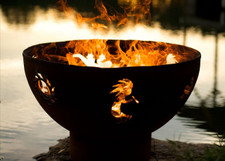 "Fire Pit Art 36"" Kokopelli - Koko, Sun And Gecko"