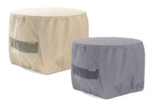 Round Fire Pit Cover - Durable Khaki or Charcoal - 48 inches x 25 inches