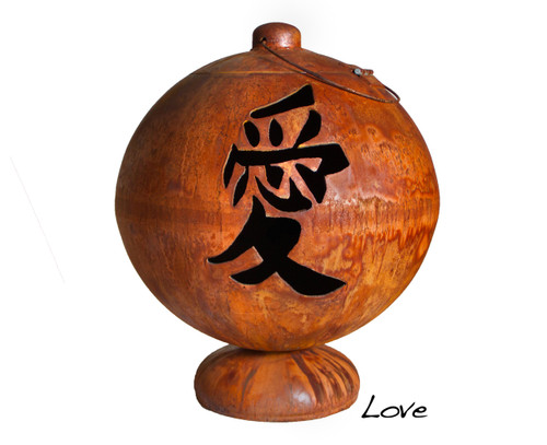 Ohio Flame 37 inch Live, Laugh, Love Fire Globe Japanese Fire Pit - Patina Finish - OF37FGLLL