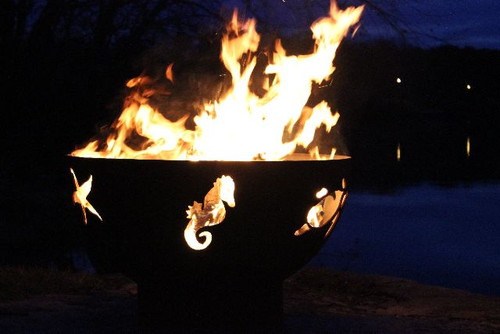 "Fire Pit Art Sea Creatures 36"" Fire Pit - Sea Creatures - Starfish, Seahorse and Sea Turtle"