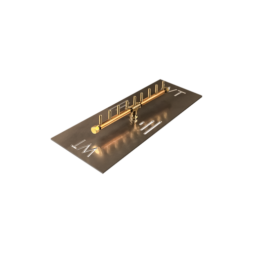 "Warming Trends Crossfire 90K BTU Linear Brass 18"" Burner System - Pan - Key Valve Kit"