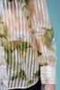 sheer blouse shirt top watercolor print pastel pointy collar long sleeve vintage 70s SMALL MEDIUM S M