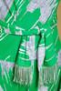 drop waist dress fringed belt green white long sleeves knee length vintage 70s MEDIUM M