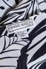 sheer secretary dress belted asymmetrical black white foliage print butterfly sleeves vintage 70s MEDIUM M