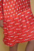 polka dot dress drop waist pleated tiered red white long sleeves vintage 80s MEDIUM M