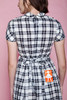 pinafore dress Peter Pan collar unworn vintage 60s baby doll gingham plaid black white red EXTRA SMALL XS