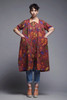 spring coat dress duster artist smock graphic tulip print burgundy red vintage 80s LARGE -EXTRA LARGE L XL
