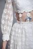 gogo midriff dress daisy chain lace white twiggy long sleeves mod vintage 60s XXS XS Extra Small