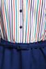 belted shirtwaist dress secretary stripes short sleeves navy blue vintage 70s MEDIUM M