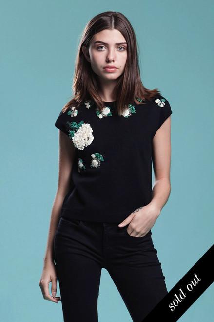 heavily hand beaded knit top black wool floral beading sleeveless vintage 60s MEDIUM LARGE M L