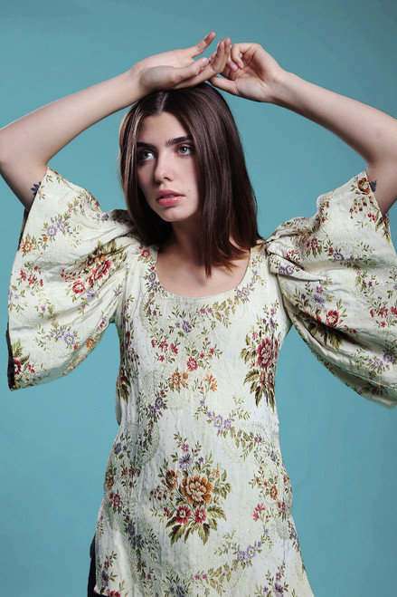 brocade blouse evening top butterfly sleeves floral vintage 60s SMALL S