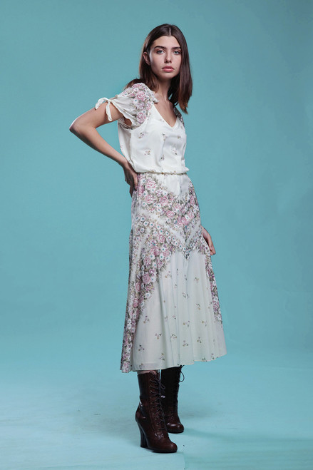floral midi dress tie sleeves romantic sheer v neck cream pink vintage 70s  SMALL S