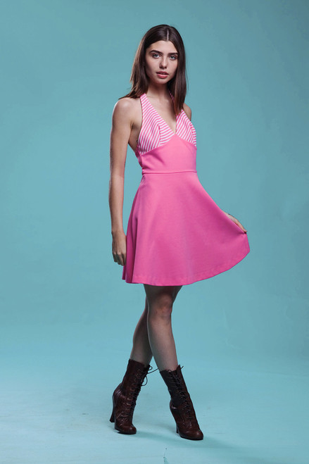 halter mini dress neon pink stripes open back MOD summer vintage 60s MEDIUM M